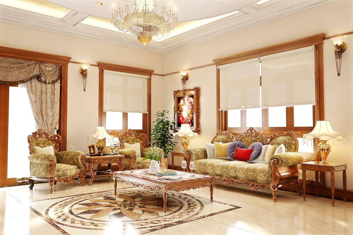 Thiết kế nội thất phòng khách với đèn chùm pha lê giúp cải thiện luồng khí vào nhà.