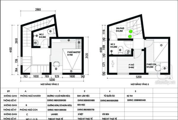 Mặt bằng thiết kế nhà tầng 2 và tầng 3.