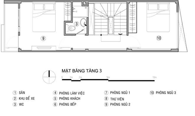 Mặt bằng thiết kế nhà tầng 1 - 3