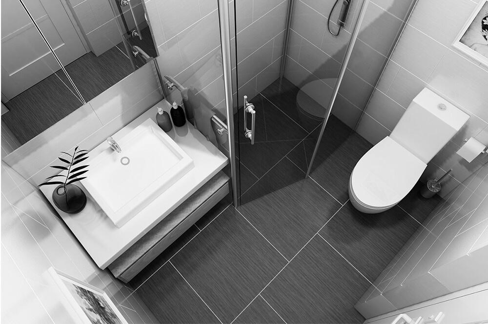 Thiết kế nhà tắm đơn giản, tiện nghi và sạch sẽ.