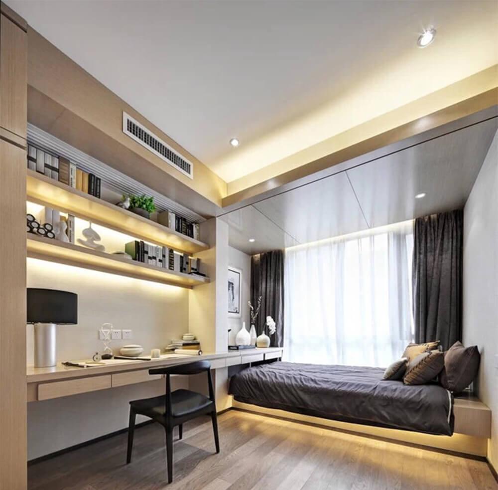 Phòng ngủ Bố Mẹ tràn ngập ánh sáng, không gian và cách bố trí nội thất mạch lạc, ngăn nắp, ấn tượng trong mẫu thiết kế nhà này.