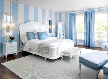 Tông màu xanh dương đối lập với màu trắng sáng tạo cho căn phòng tạo cảm giác lạc quan vui vẻ sau cải tạo nhà sửa phòng ngủ đẹp với sắc xanh-trắng này.