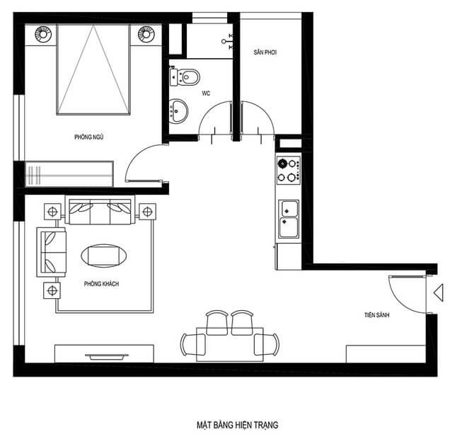 Mặt bằng hiện trạng trước cải tạo nhà chung cư thêm phòng ngủ.