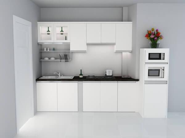 Không gian bếp với tông màu trắng kết hợp hệ tủ bếp tuy nhỏ nhưng rất hiện đại và đầy đủ tiện nghi sau sửa nhà.