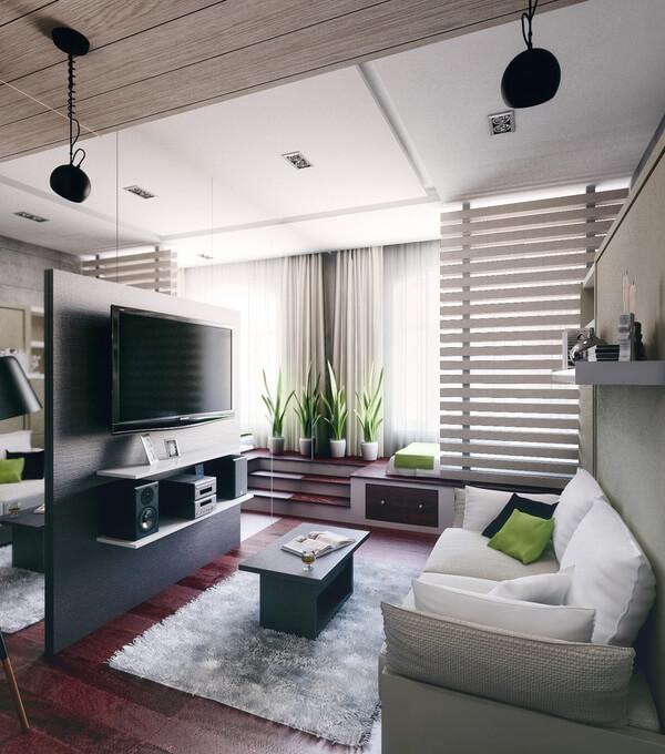 Khu vực tiếp khách siêu thoáng đãng với sofa phòng khách, hệ giải trí tiện nghi, sau khi sửa nhà chung cư diện tích nhỏ này.