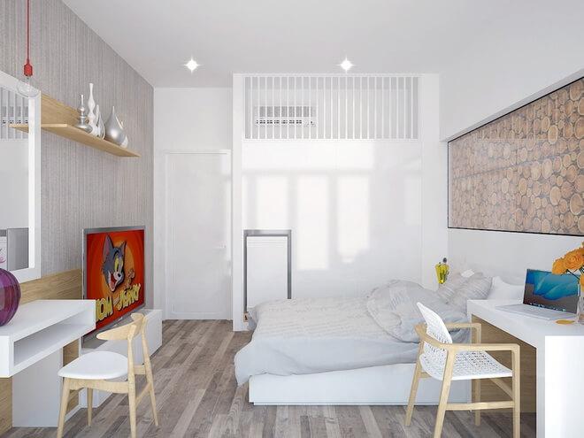 2 phòng ngủ, trong mẫu thiết kế nhà ống 3 tầng, chung 1 WC nên diện tích sử dụng cá nhân nhiều hơn.