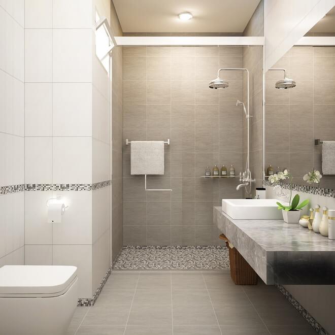 Nhà tắm sử dụng chung nên khá rộng rãi và có ô cửa nhỏ lấy không khí, ánh sáng, trong mẫu thiết kế nhà ống 3 tầng này.