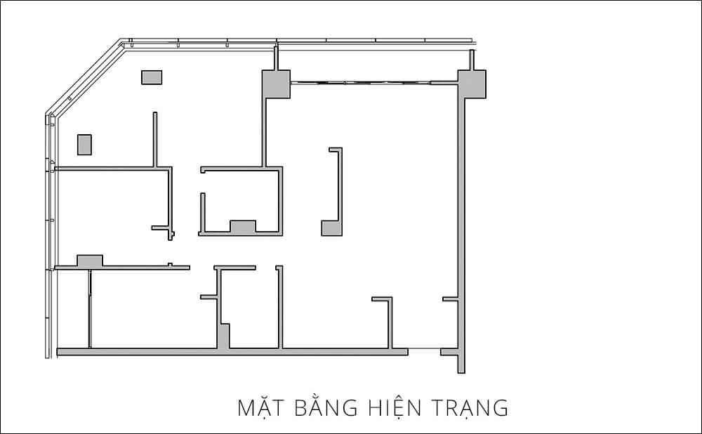 Mặt bằng hiện trạng trước sửa chữa cải tạo nhà chung cư tại Hà Nội này.
