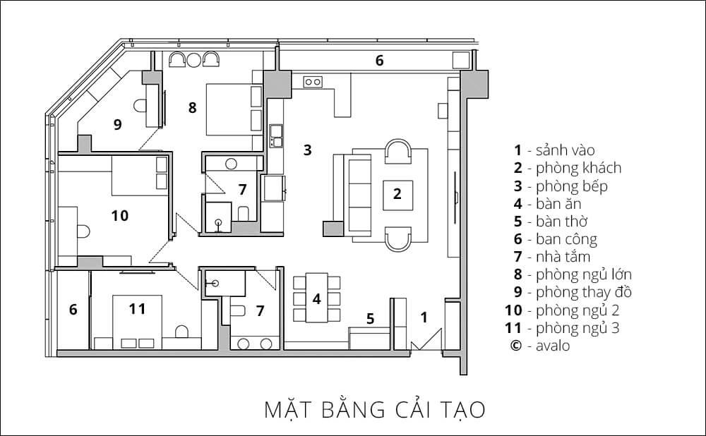 Mặt bằng tư vấn sửa chữa cải tạo nhà chung cư tại Hà Nội.