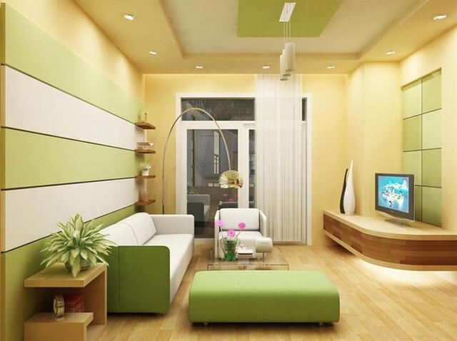 Với màu vàng chanh sơn phòng khách nhà bạn như được thổi vào một luồng gió mới mang sức sống cho cả ngôi nhà.