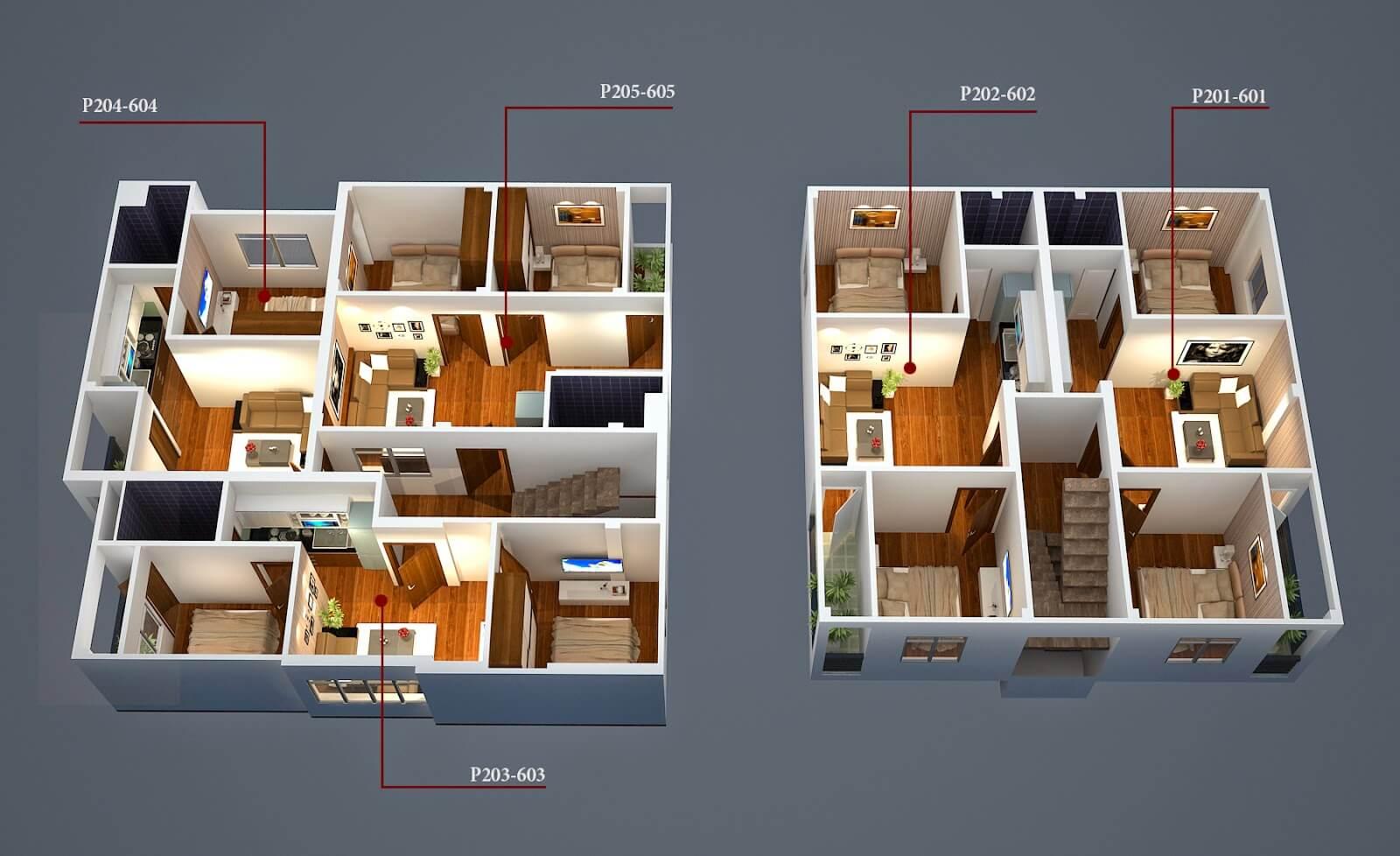 Bản vẽ mặt bằng bố trí nhà chung cư đẹp tại Hà Nội