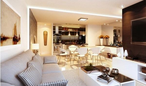 Cải tạo nhà chung cư với không gian mở giữa phòng khách với khu vực bếp và ăn.