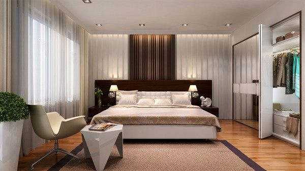 Cải tạo nhà chung cư, với phòng ngủ bố mẹ tràn ngập ánh sáng với đồ nội thất đơn giản, hiện đại.