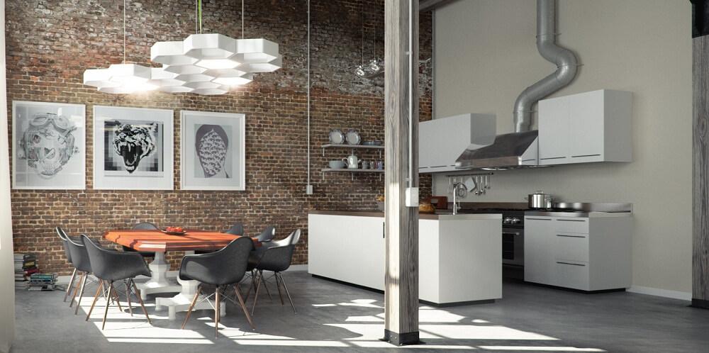 Những mẫu nhà bếp đẹp theo phong cách công nghiệp được đặc trưng bởi những đường nét cứng cáp, vuông vắn và mạnh mẽ.