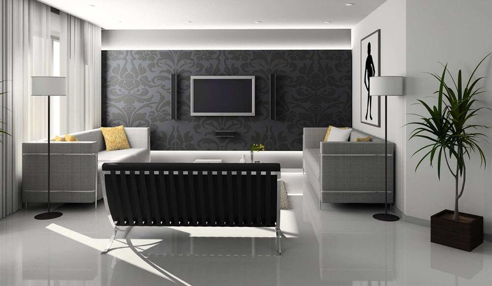 Phòng khách hiện đại sang trọng, trong mẫu thiết kế nhà ống 1 tầng này.
