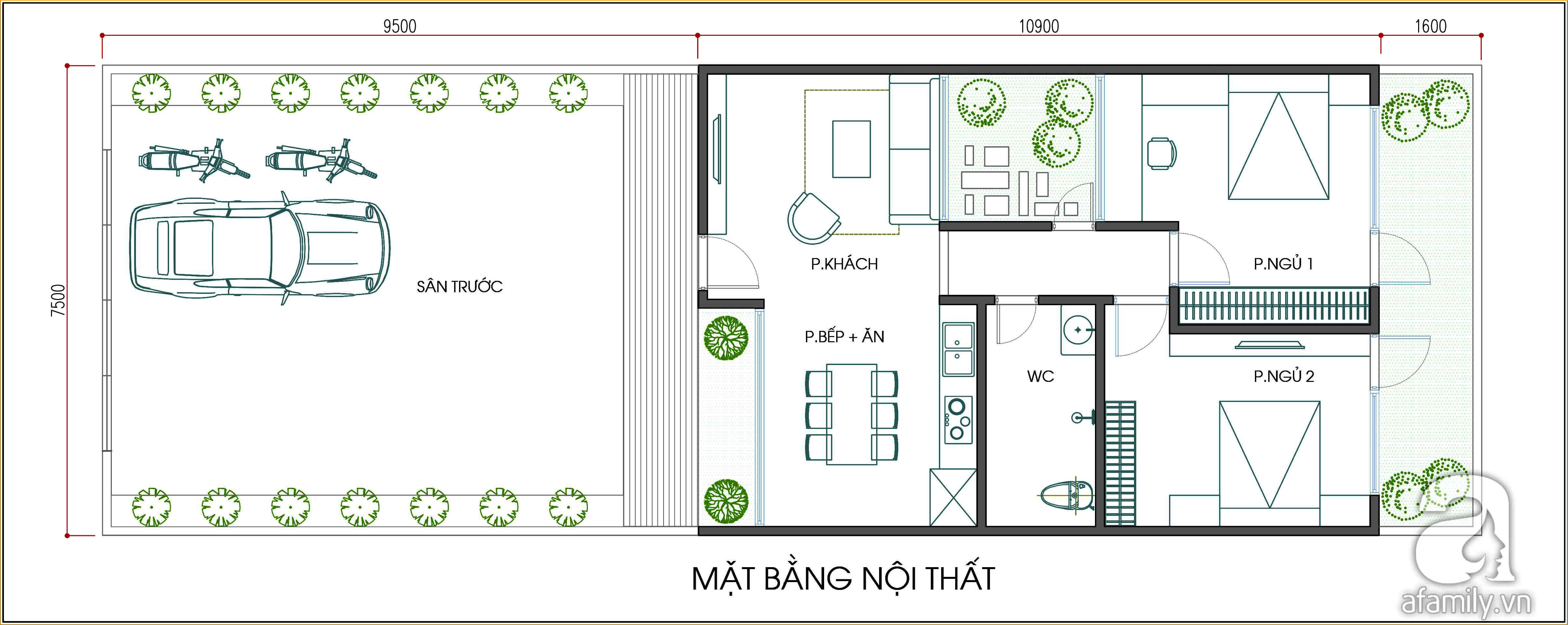 Mặt bằng thiết kế nhà cấp 4 và bố trí nội thất.