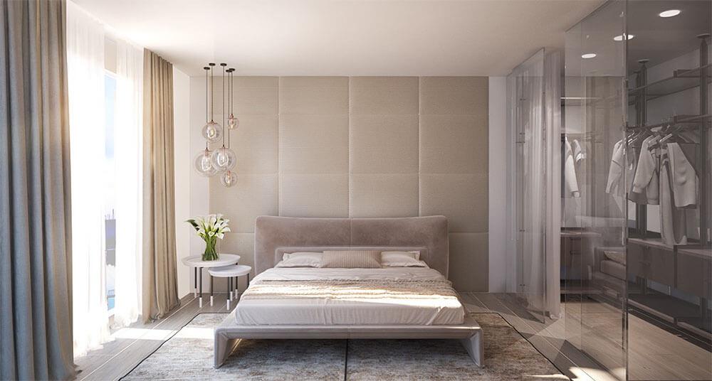 Phòng ngủ master sang trọng gam màu be tinh tế, trong mẫu thiết kế nội thất nhà cấp 4.