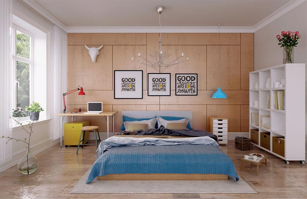 Thiết kế nội thất nhà cấp 4, phòng ngủ dành cho con với tone màu cá tính bắt mắt.