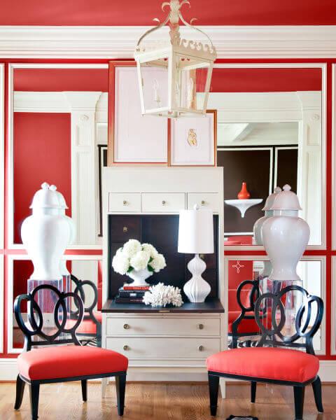 Sơn nhà mầu đỏ trắng nổi bật