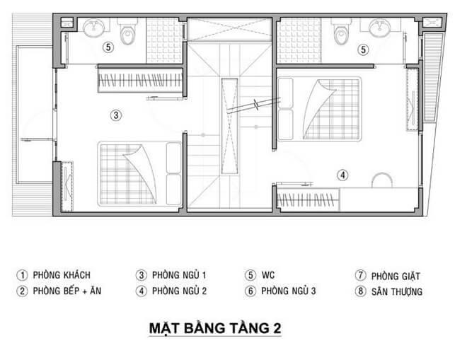 Thiết kế nhà 21 m2 có ba phòng ngủ sáng thoáng với mặt bằng tầng 2