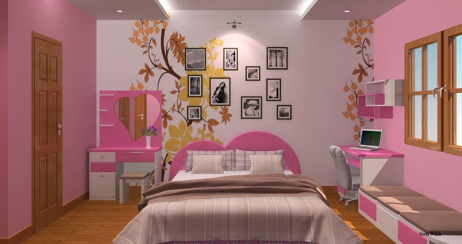 Dịch vụ sơn phòng ngủ đẹp chuyên nghiệp với hoa văn ấn tượng