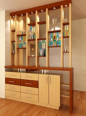 Chọn nội thất phù hợp phòng khách như tủ lưu niệm hoặc kệ để đồ trang trí