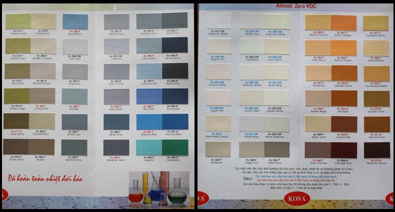 Bảng mầu sơn nội ngoại thất Kova lưu ý khi chọn màu đậm quý vị sẽ có thể sẽ bị tính phí cao hơn vì hãng sơn kova họ tính thêm 10% cho mỗi mầu đậm 1 *