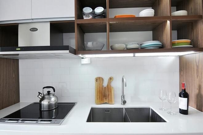 Cải tạo kệ chứa đồ nhà bếp chung cư 58 M2