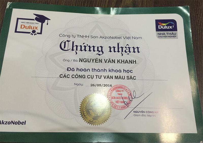 Hãng sơn dulux chứng nhận thợ sơn giỏi tại Hà Nội