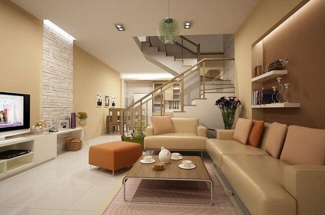Sơn phòng khách nhà ống kết hợp với đồ nội thất sang trọng