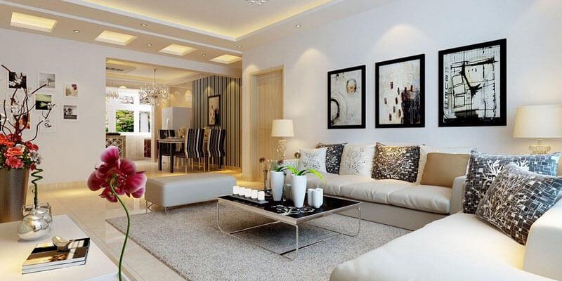 Màu sơn phòng khách gam mầu trung tính đẹp tại Hà Nội