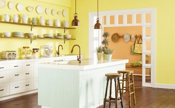 Sơn bếp mầu pastel tạo thêm sức sống cho phòng bếp