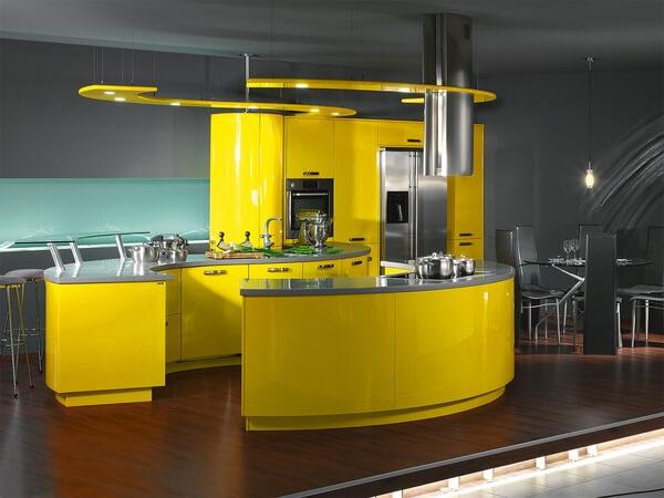 Sơn bếp mầu vàng kết hợp ghi độc đáo là điểm nhấn nổi bật phòng bếp đẹp