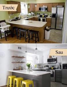 Mẫu phòng bếp trước và sau khi sửa chữa sang trọng hiện đại