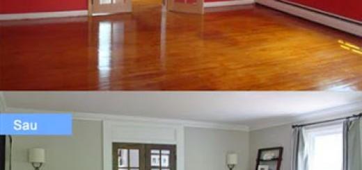 Mẫu phòng khách trước và sau khi sửa chữa
