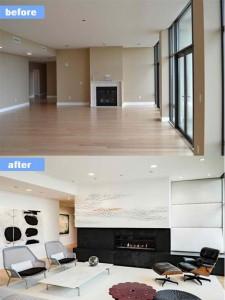 Mẫu phòng khách trước và sau khi sửa chữa sang trọng