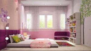 Phòng ngủ 3 giành cho em bé có tone mầu tự nhiên, trẻ trung