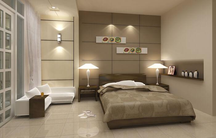 Phòng ngủ với tone mầu xám nâu ấn tượng