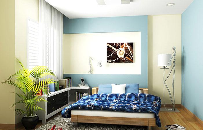 Phòng ngủ với tone mầu xanh hiện đại lạ mắt