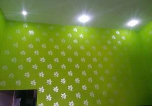 Sơn hoa văn mầu xanh tươi mát kết hợp đèn led sang trọng