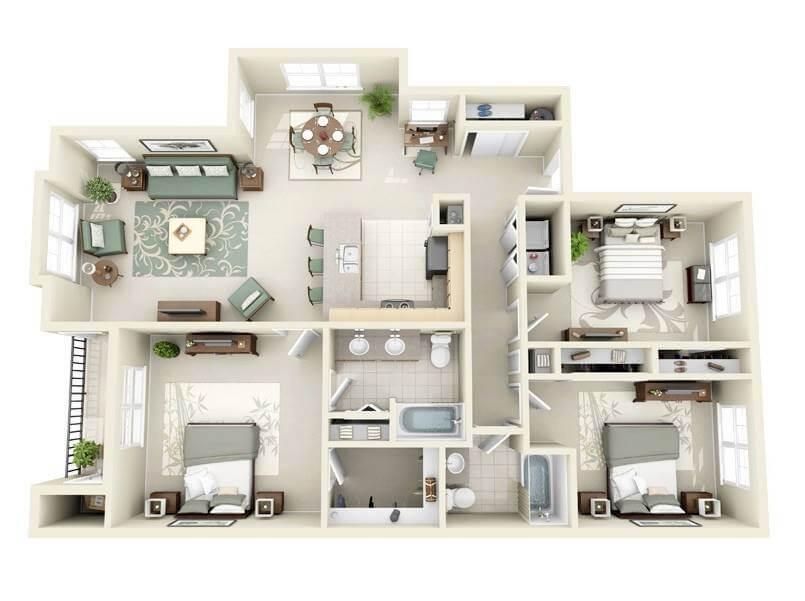 Mẫu 1 - Bản vẽ 3D cải tạo 9 mẫu chung cư đẹp nhất 2015