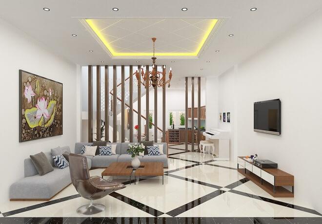 Phòng khách dùng tông màu sáng trắng với nội thất cơ bản và không có nhiều đồ trang trí