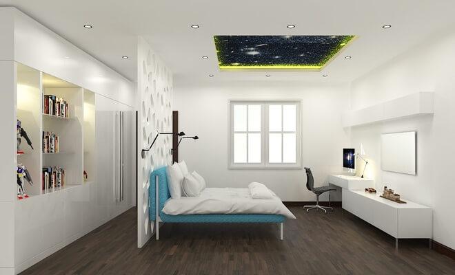 Phòng ngủ của con trai, thiết kế đơi giản, tông màu trắng, sáng rộng trong mẫu nhà đẹp 3 tầng này.