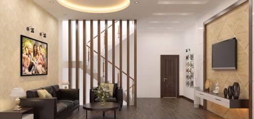 Mẫu nhà đẹp 3 tầng, phòng sinh hoạt chung dùng lam gỗ làm vách ngăn nhẹ, lấy sáng từ cầu thang