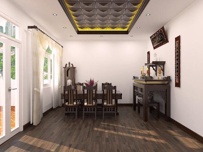 Mẫu nhà đẹp 3 tầng, với tông màu gỗ nâu sậm kết hợp với trắng, phòng thờ trang trọng.