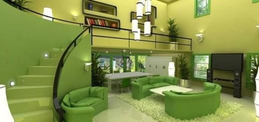 Mẹo sơn phòng khách màu xanh lá cây đẹp phù hợp với phong thủy