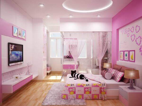 Phòng ngủ sử dụng gam màu tím, lãng mạn, kết hợp sàn gỗ ấm áp sau sửa chữa nhà 75m2, ấn tượng.