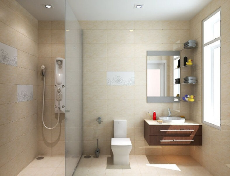 Sửa chữa nhà 75m2, với phòng tắm nội thất hiện đại, sang trong.