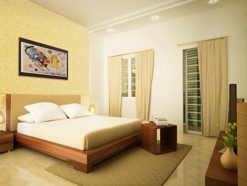 Sửa nhà với phòng ngủ sử dụng gam màu vàng ấm cúng, nội thất đơn giản, thoáng đãng.