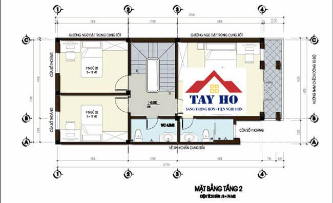 Mặt bằng thiết kế các căn hộ tầng 2 trong ngôi nhà 75 M2 rộng đẹp tại Hà Nội.